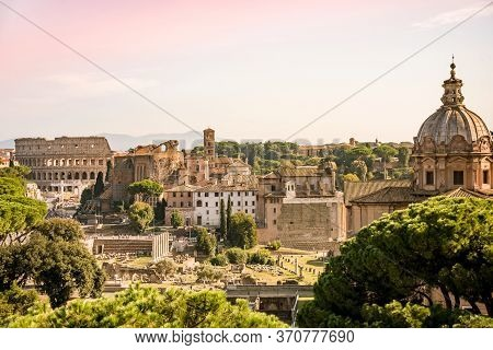Forum Romanum And Coliseum View From The Capitoline Hill In Italy, Rome. Travel World