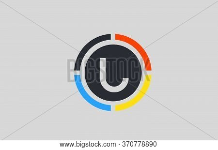 Yellow Orange Blue U Alphabet Letter Logo For Business And Company With Circle Design