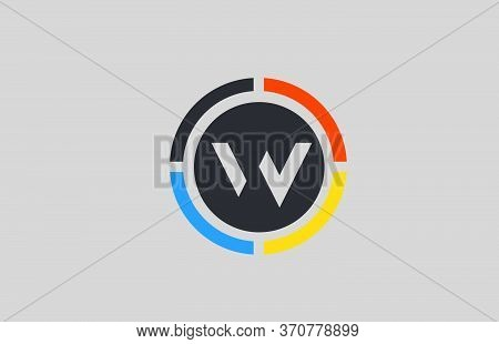 Yellow Orange Blue W Alphabet Letter Logo For Business And Company With Circle Design