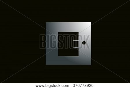 Grey Metal E Alphabet Letter Logo For Business And Company With Square Design. Metallic Template For
