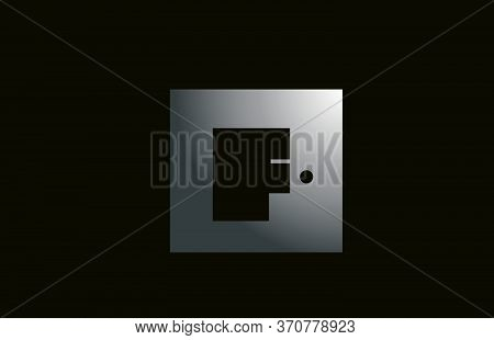 Grey Metal F Alphabet Letter Logo For Business And Company With Square Design. Metallic Template For