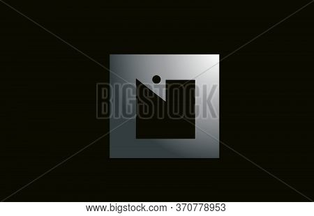 Grey Metal N Alphabet Letter Logo For Business And Company With Square Design. Metallic Template For