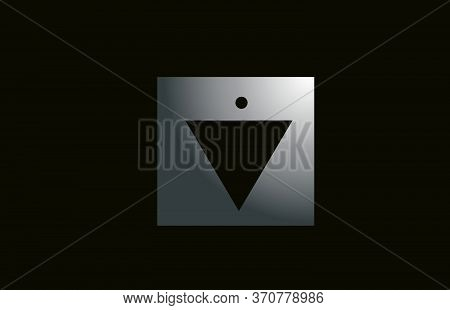 Grey Metal V Alphabet Letter Logo For Business And Company With Square Design. Metallic Template For