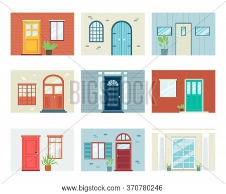 Building Entrance Set With Doors And Windows, Flat Vector Illustration Isolated.