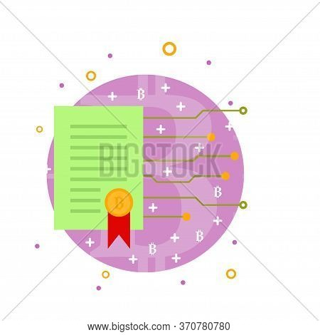 Cryptocurrency Process Mining Icon. Flat Vector Illustration In Crypto Theme. Crypto Currency Label