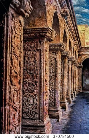 Columns With Carved Charming Ornaments, In The Courtyard Of An Old Convent At Arequipa. With A Stron