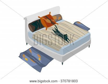 Hand Drawn Vector Stock Abstract Graphic Cartoon Illustration With Isometric Bohemian Bedroom Isolat