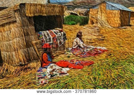 Indigenous Women Selling Typical Rugs At The Uros Village On Floating Islands Made Of Totora Reeds I