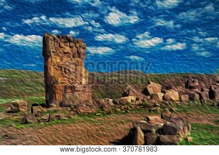 Stone Ruins At The Sillustani Archaeological Site, A Pre-incan Cemetery On The Shores Of Lake Umayo