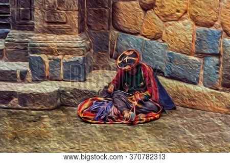 Indigenous Woman Wearing Typical Clothes Seated On Street Of Cusco Historic City Center. The Ancient