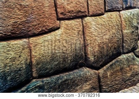 Finely Cut Stones Forming A Wall Built By The Incas In The Middle Ages In Cusco. The Ancient Capital