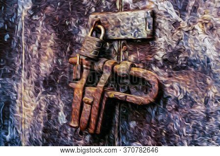 Close-up Of Rustic Lock With Hasp And Padlock On Old Weathered Door In Cusco. The Ancient Capital Of