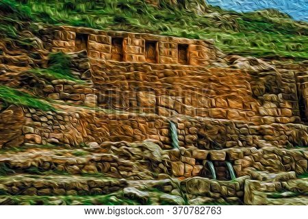 Inca Stone Ruins And Fount At The Tambomachay Archaeological Site On The Outskirts Of Cusco. The Anc