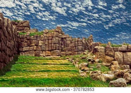 Stone Ruins And Entrance At The Inca Archaeological Site Of Sacsayhuaman Close To Cusco. The Ancient