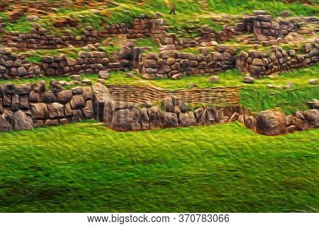 Stone Ruins And Walls At The Inca Archaeological Site Of Sacsayhuaman Close To Cusco. The Ancient Ca