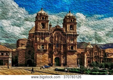 Baroque Style Cathedral At The Plaza De Armas, In The Historical City Center Of Cusco. The Ancient C