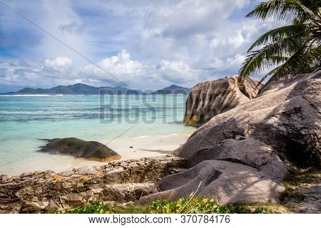 The Most Beautiful Beach Of Seychelles, Anse Source Dargent - Granite Rocks At Beautiful Beach On Tr