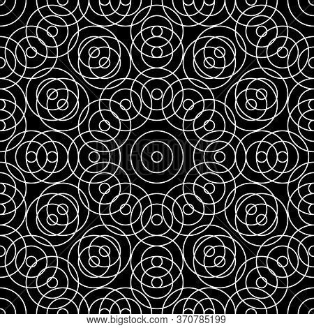 Repeated Small And Big White Circles Background. Seamless Surface Pattern Design With Circular Ornam