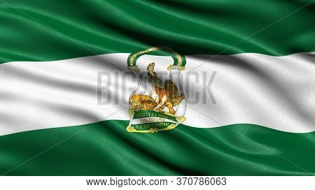 Flag of Andalusia waving in the wind. 3D illustration.
