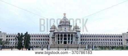BANGALORE, INDIA - Dec12, 2015: Karnataka state Parliament house in the city of Bangalore, India.
