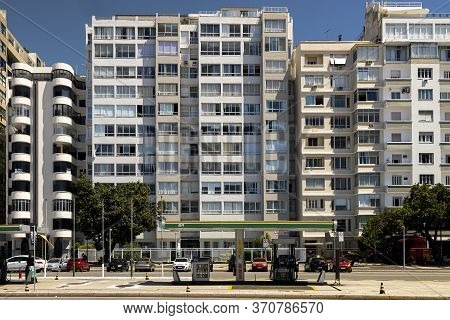 Rio De Janeiro, Brazil - March 27, 2020: Architectural Detail Of Facades Of Residential Buildings At