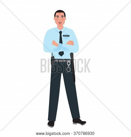 Police And Security Agency Employee In Uniform. Security Service. Vector Illustration Profession