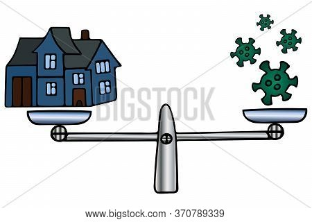House And Coronavirus. Balance Balance For Weighing Economic Decisions. Color Vector Illustration. I