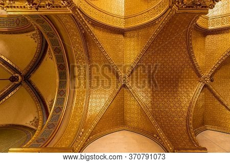 Budapest, Hungary - Feb 10, 2020: Golden Rib Vaults Ceiling In Parliament Building Inside Parliament