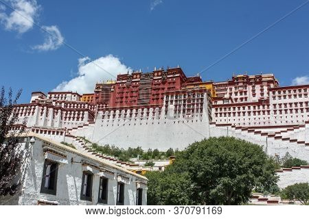 Potala Palace View From Street In Lhasa, Tibet, Asia