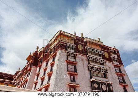 Wall Of Potala Palace In Lhasa, Tibet, Asia