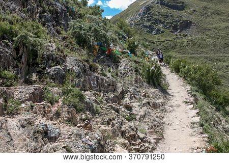 Hiking Trail Around Drepung Monastery Near Lhasa, Tibet, Asia