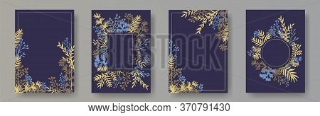 Watercolor Herb Twigs, Tree Branches, Leaves Floral Invitation Cards Collection. Bouquet Wreath Retr