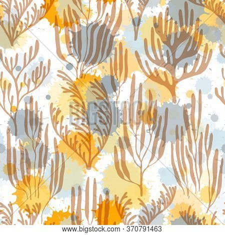 Ocean Corals Seamless Pattern. Paint Splashes Drops Watercolor Background. Underwater Plants Textile