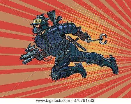 Super Cop From The Future, Cyberpunk. Police. Pop Art Retro Vector Illustration Vitch Vintage 50s 60