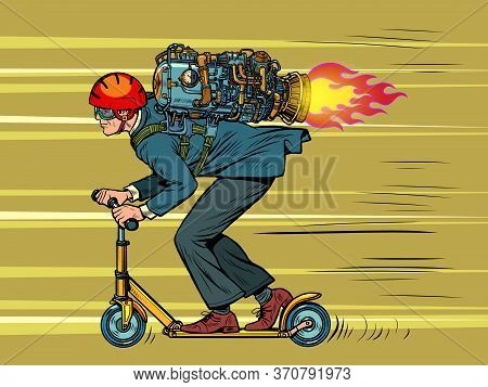 A Businessman Is Riding A Scooter. High Speed Jet Engine. Pop Art Retro Vector Illustration 50s 60s