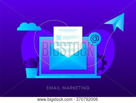 Email Marketing Concept On Dark Gradient Background. Laptop With Envelope, Open Email And Message On