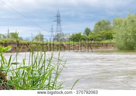Extensive Flooding On Dniester River. A Close Up
