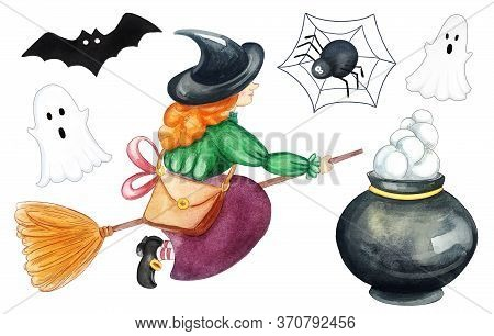 Watercolor Set Halloween Party. Happy Halloween Design Elements. Cute Halloween Icons And Objects Is