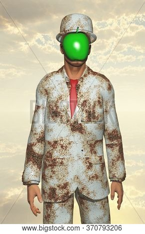 Man in white corroded suit with obscured face. 3D rendering