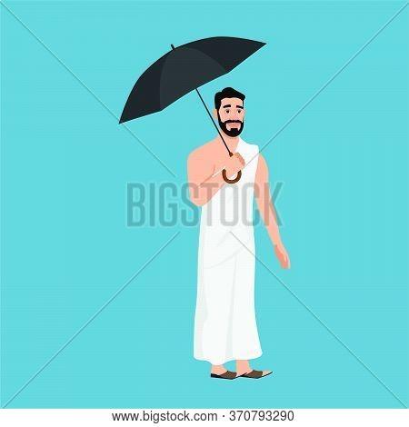 Hajj Pilgrim Holding An Umbrella Vector . Hajj Season  Macca