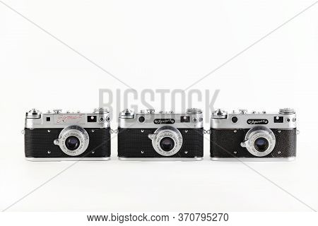 The Very Rare Old Soviet Rangefinder Film Cameras Zorki-5, Released 1958 And 1959 On White Backgroun