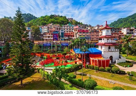 Mandi, India - October 05, 2019: Clock Tower In Sunken Public Garden In Mandi Town, Himachal Pradesh