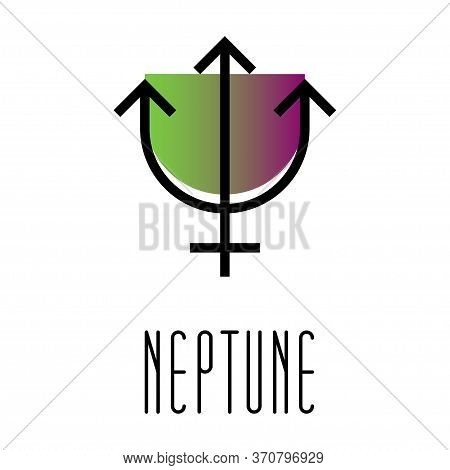 Planet Symbol, Sign Of Neptune. Symbol Illustration Of Astrology Planet - Neptune. Zodiac And Astrol