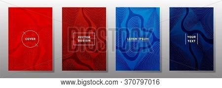 Colored Cover Templates Set. Fluid Curve Shapes Geometric Lines Patterns. Cool Backgrounds For Notep