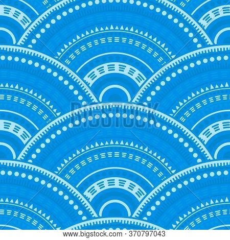 Chinese Concentric Elements Textile Ornament Vector Seamless Pattern. Tribal Motifs Suzani Line Art