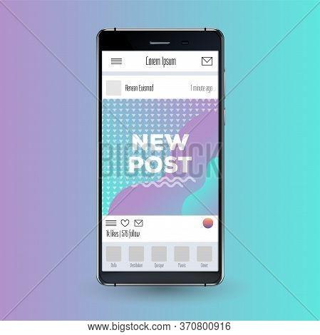 Social Network Mockup. Mobile App. Vibrant Gradient Vector Gui. Design Screen Template For Blog. Cre