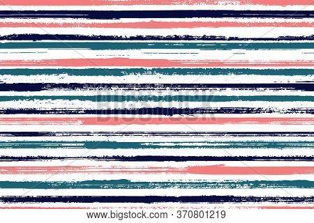 Ink Brush Stroke Grunge Stripes Vector Seamless Pattern. Trendy Linen Fabric Print Design. Scratchy