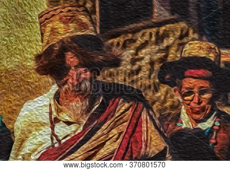 Himalaya, Nepal - September 15, 1990. Older Couple Dressed In Typical Attire Attending Traditional F