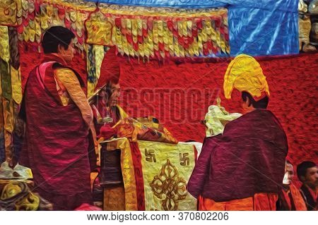 Himalaya, Nepal - September 15, 1990. Buddhist Monks Attending Religious Festival In A Monastery Of