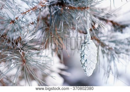 Snow-covered Christmas Tree Branch And Shiny Cones On The Background Of The Forest. Pine Branch With